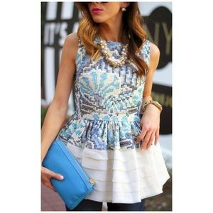 ANTHROPOLOGIE Fish Fry Peplum Top in Size 6P